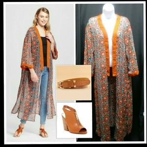 Jackets & Blazers - Brown/Rust Sheer Duster